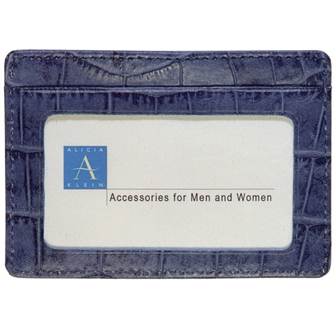 Business Card with Window - Denim Croco