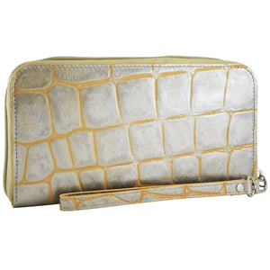 Alicia Klein womens leather wallet, Silver Jazz