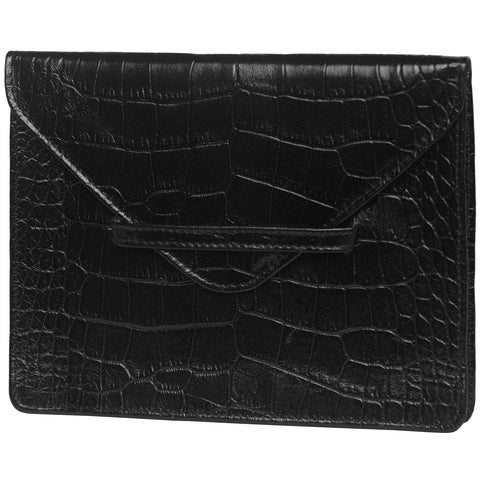 "6.75"" x 5.5"" BLACK CROCO Leather Envelope for Receipts, Phone, or Travel Docs"