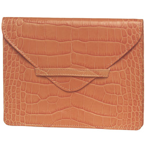 "6.75"" x 5.5"" BUTTERSCOTCH CROCO Leather Envelope for Receipts, Phone, or Travel Docs"
