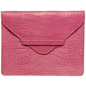 "6.75"" x 5.5"" PINK CROCO Leather Envelope for Receipts, Phone, or Travel Docs"