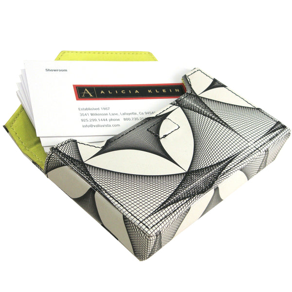 Alicia Klein leather card holder, Fishnets print, interior view