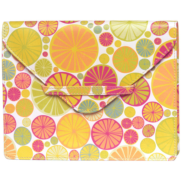 "6.75"" x 5.5"" CITRUS print Leather Envelope for Receipts, Phone, or Travel Docs"