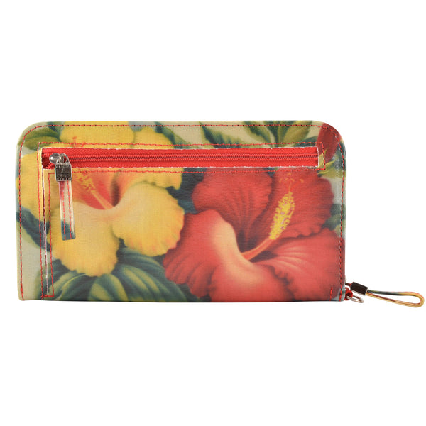 Alicia Klein womens vegan wallet, Hibiscus, back view