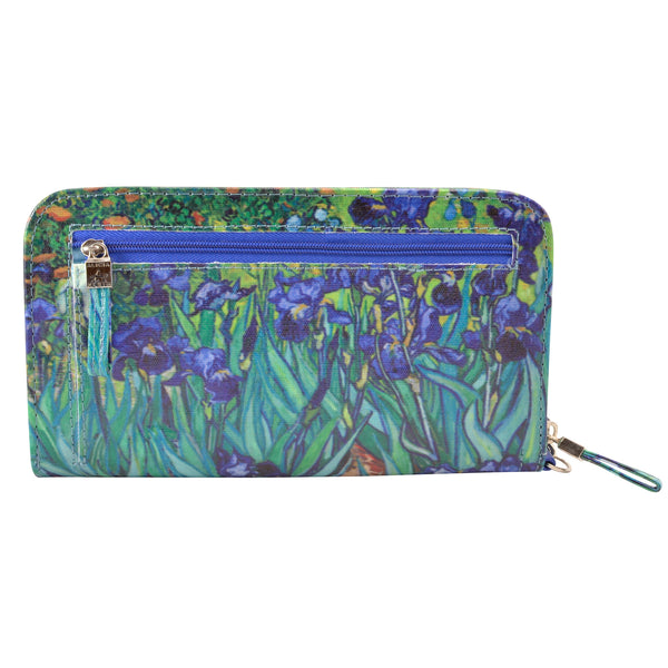 Alicia Klein womens vegan wallet, Irises, back view
