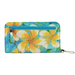 Alicia Klein vegan womens wallet, Plumeria, back view