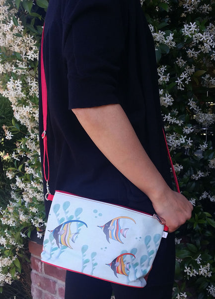 """Gifts of the Sea"" Crossbody Bag - 6.5"" x 10"" coated canvas, Vegan"