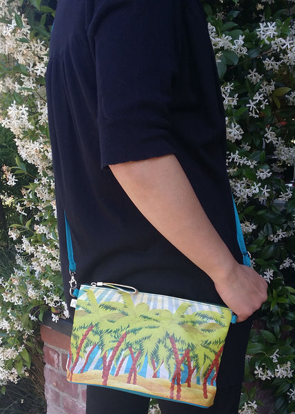 """Island Sun"" Crossbody Bag - 6.5"" x 10"" coated canvas, Vegan"