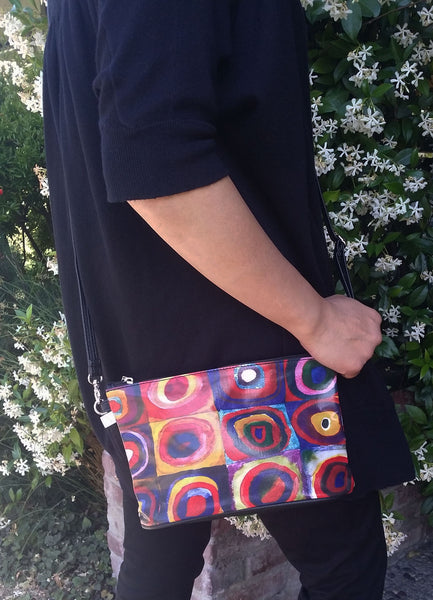 """Kandinsky"" Crossbody Bag - 6.5"" x 10"" coated canvas, Vegan"
