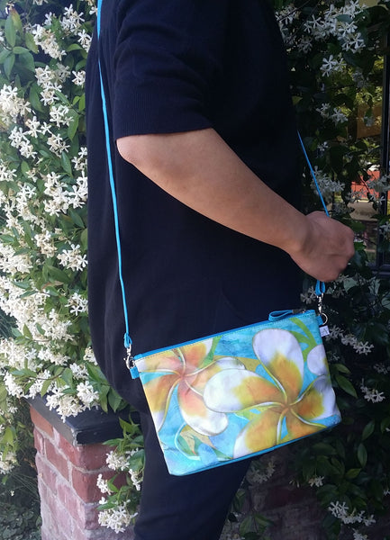 """Plumeria"" Crossbody Bag - 6.5"" x 10"" coated canvas, Vegan"