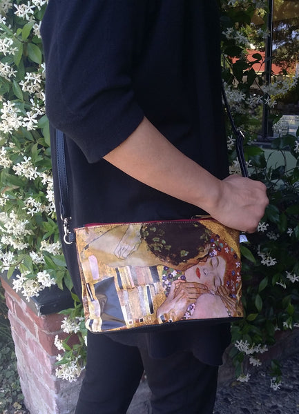"Klimt ""Kiss"" Crossbody Bag - 6.5"" x 10"" coated canvas, Vegan"
