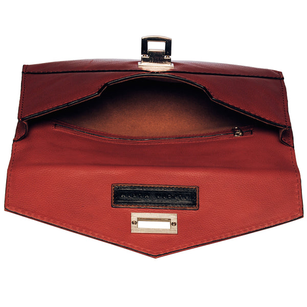 Alicia Klein leather clutch, red, interior view