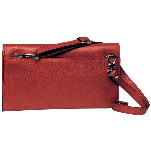 Alicia Klein leather crossbody clutch, red, back view