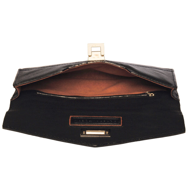 Alicia Klein leather clutch, black, interior view
