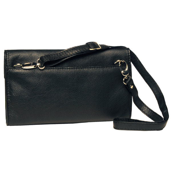 Alicia Klein leather crossbody clutch, black, back view
