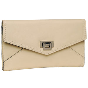 Alicia Klein leather clutch bag, winter white