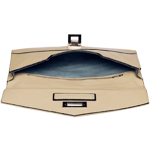 Alicia Klein leather clutch bag, winter white, interior view