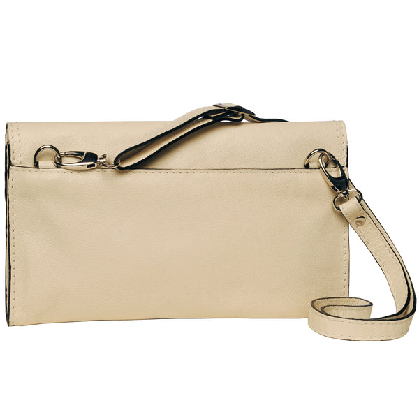 Alicia Klein leather crossbody clutch bag, winter white, back view