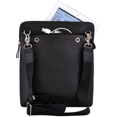 Alicia Klein ePouch leather crossbody tablet bag, black, back view