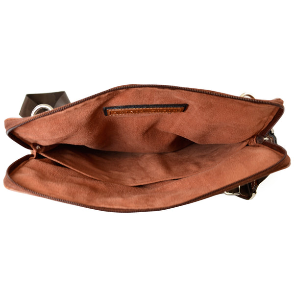 Alicia Klein ePouch leather crossbody tablet bag, brown, interior view