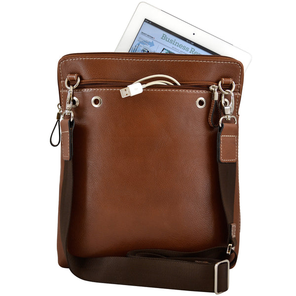 Alicia Klein ePouch leather crossbody tablet bag, brown, back view