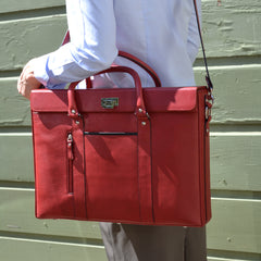 Alicia Klein womens laptop briefcase, Hollywood Tote, red