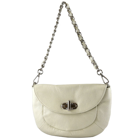 Alicia Klein leather handbags, Lindsay Bag, Pearl white