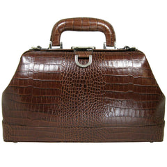 Alicia Klein leather doctor bag, chocolate brown croco print