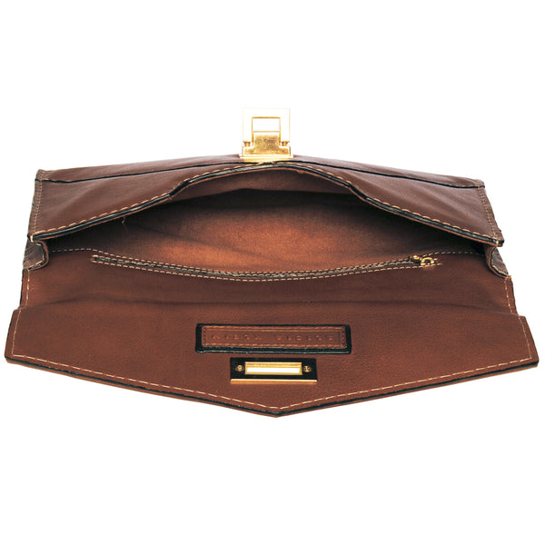 Alicia Klein leather clutch, toffee brown, interior view
