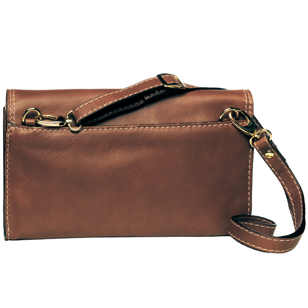 Alicia Klein leather clutch, toffee brown, back view