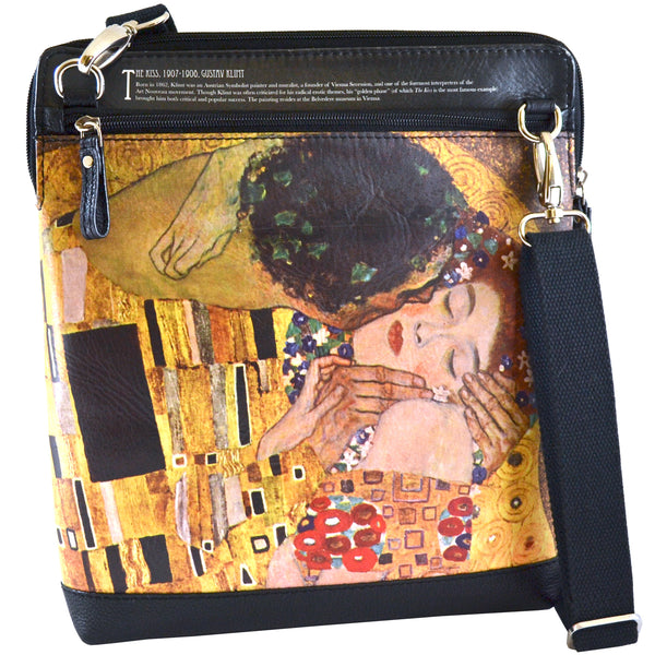 Alicia Klein ePouch leather crossbody tablet bag, Klimt The Kiss