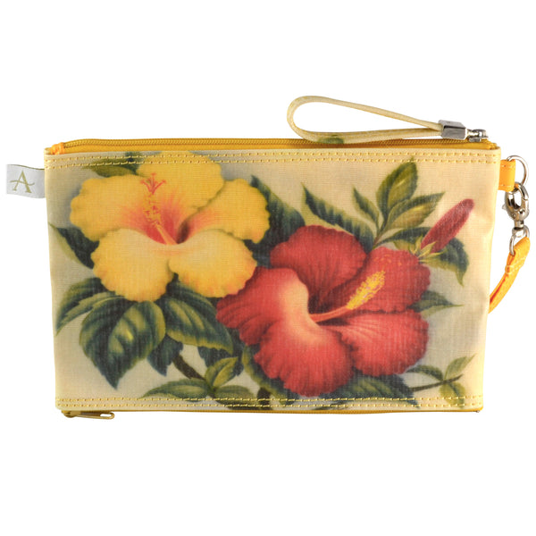 Double Zipper Pouch - Hibiscus