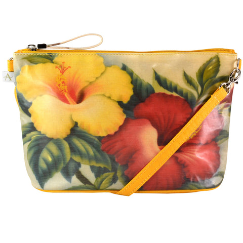"""Hibiscus"" Crossbody Bag - 6.5"" x 10"" coated canvas, Vegan"