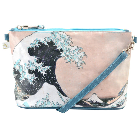 "Hokusai ""Wave"" Crossbody Bag - 6.5"" x 10"" coated canvas, Vegan"