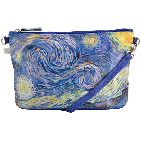 "Van Gogh ""Starry Night"" Crossbody Bag - 6.5"" x 10"" coated canvas, Vegan"