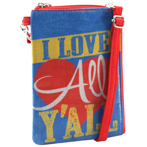 Vegan Crossbody Phone Wallet Bag - Southern Gal Gift - Love Y'All