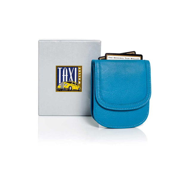 BLUE MOON Taxi Wallet. Italian Leather. Minimalist. Folding Wallet for Cards, Coins & Bills.
