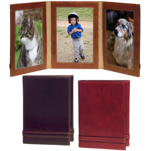 "Italian Leather Photo Frame - Triple 4"" x 6"""