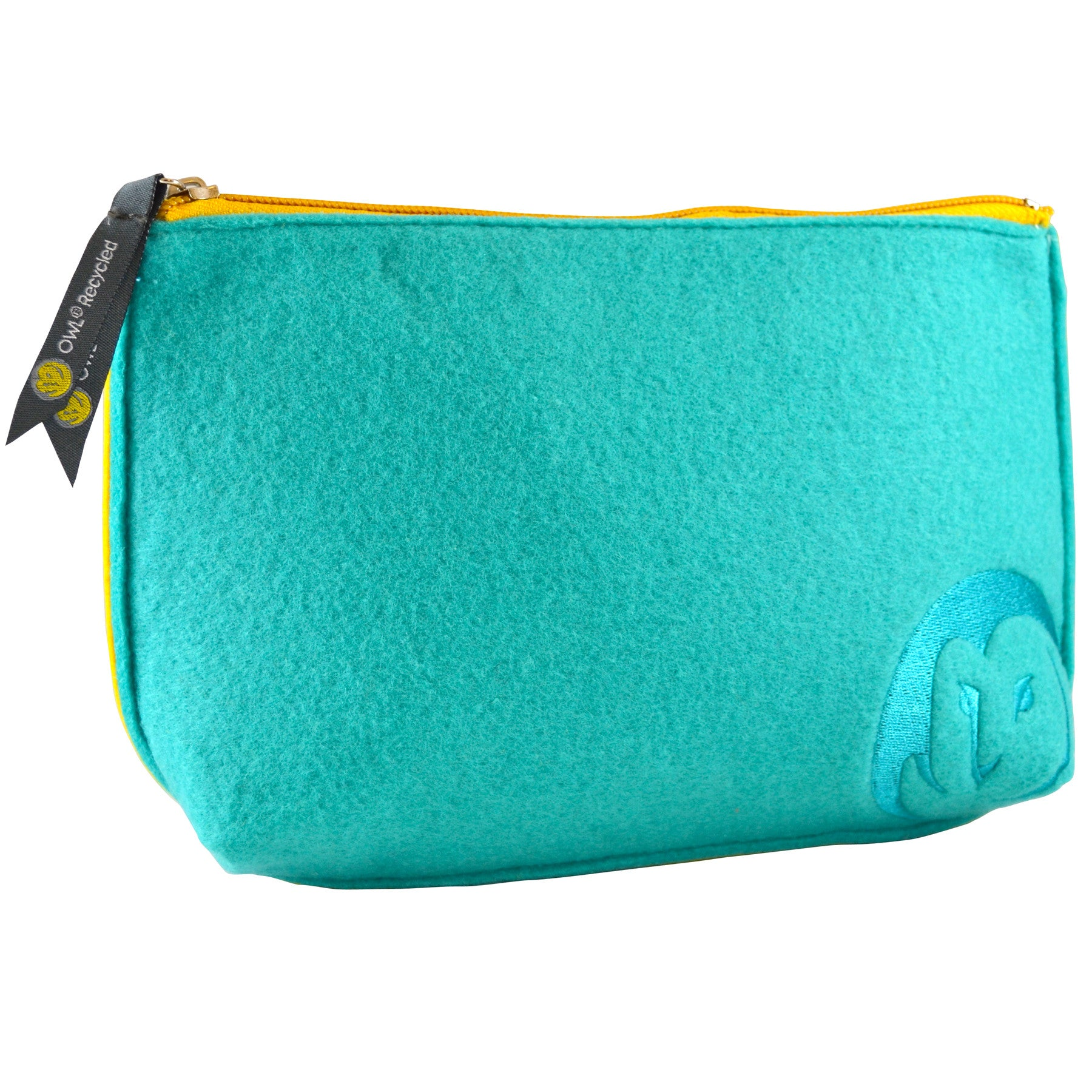 Felt Zip-Top Pouch - Aqua - 100% Recycled Water Bottles