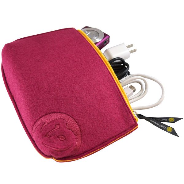 Felt Zip-Top Pouch - Berry - 100% Recycled Water Bottles