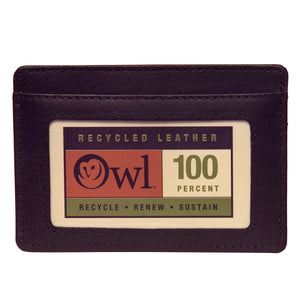 OWL recycled eco leather basic ID card holder, black