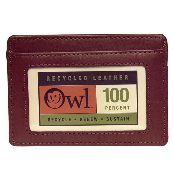 OWL recycled eco leather basic ID card holder, cocoa