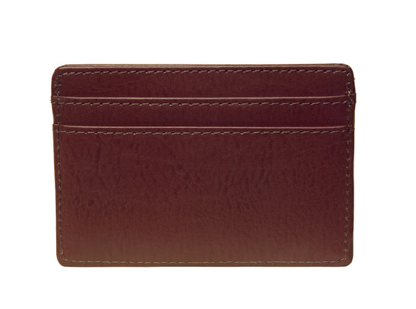 OWL recycled eco leather basic ID card holder, cocoa, back
