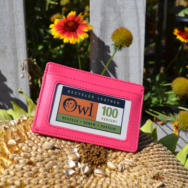 OWL recycled eco leather basic ID card holder, pink