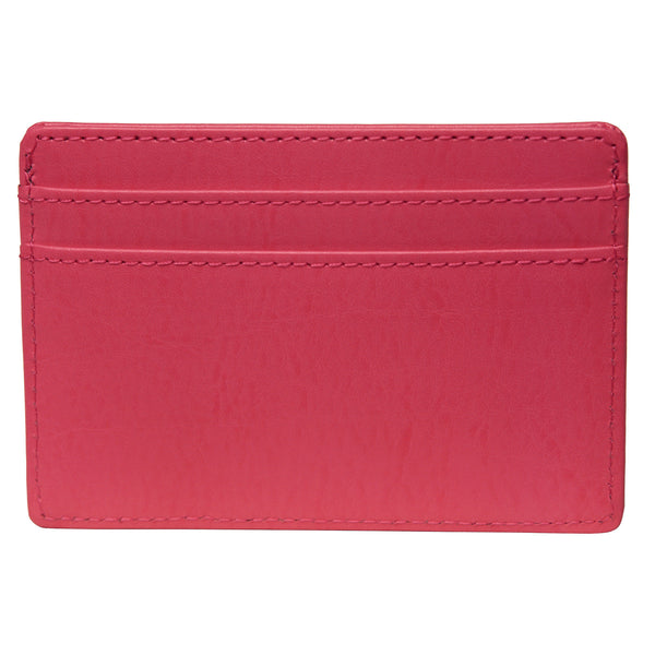 OWL recycled eco leather basic ID card holder, pink, back