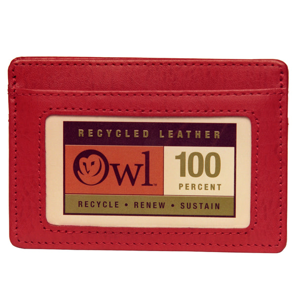 OWL recycled eco leather basic ID card holder, red