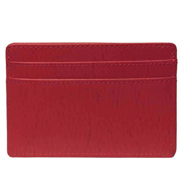 OWL recycled eco leather basic ID card holder, red, back