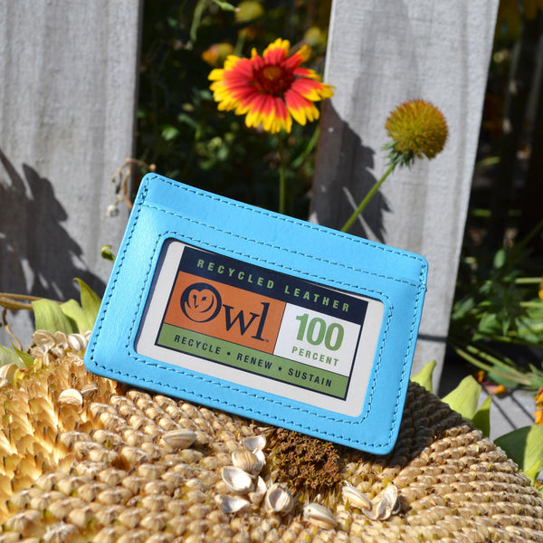 OWL recycled eco leather basic ID card holder, blue