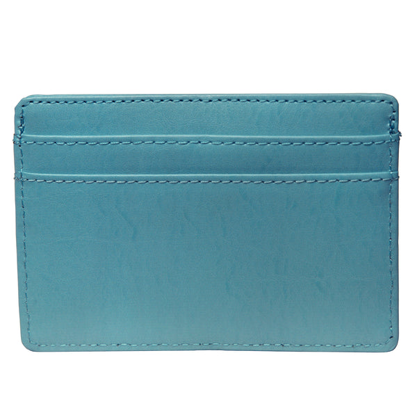OWL recycled eco leather basic ID card holder, blue, back