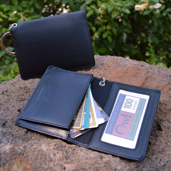 OWL recycled eco leather gusseted ID card holder, black